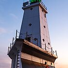 Ludington North Breakwater Light at Sundown by Kenneth Keifer