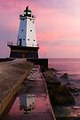 Sunset at Ludington North Breakwater Light, Michigan by Kenneth Keifer