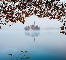 Autumn Mist over Lake Bled by Ian Middleton