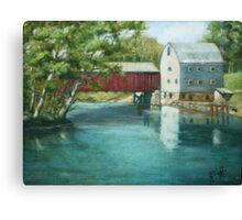 Bridge Over River Painting Canvas Print