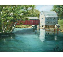 Bridge Over River Painting Photographic Print