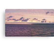 Sunset over Elk Island w/ Psalm 113:3 Canvas Print