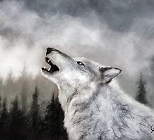 Winter Wolf Digital Painting by JamieTifft