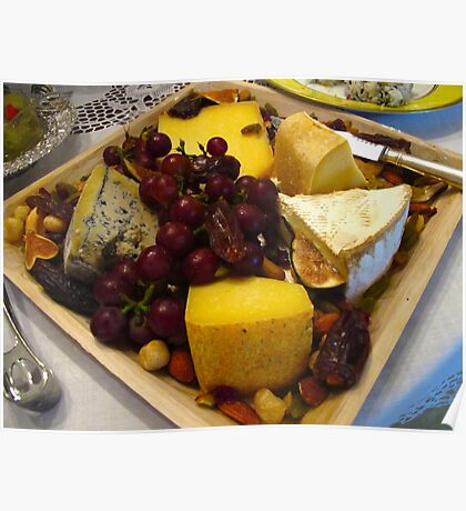 Fresh fruit and cheese tray Poster