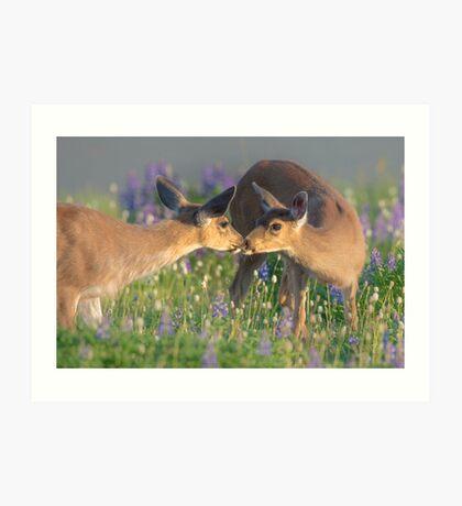 Deer Dear Kisses Art Print