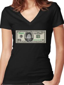 "DATA ""50 Dollar Bill"" Women's Fitted V-Neck T-Shirt"