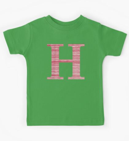 Letter H Red Watercolor Stripes Initial Monogram Kids Tee
