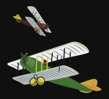 Biplanes in Aerial Games T-shirt design by Dennis Melling