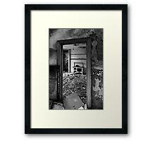 Interior B&W of derelict house.  Framed Print