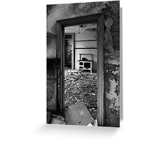 Interior B&W of derelict house.  Greeting Card