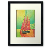 Cubist Abstract Sailing Boat Framed Print