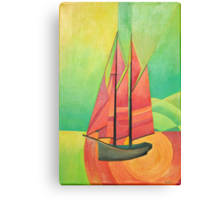 Cubist Abstract Sailing Boat Canvas Print