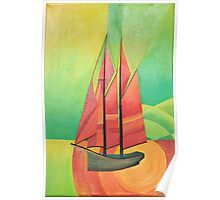 Cubist Abstract Sailing Boat Poster