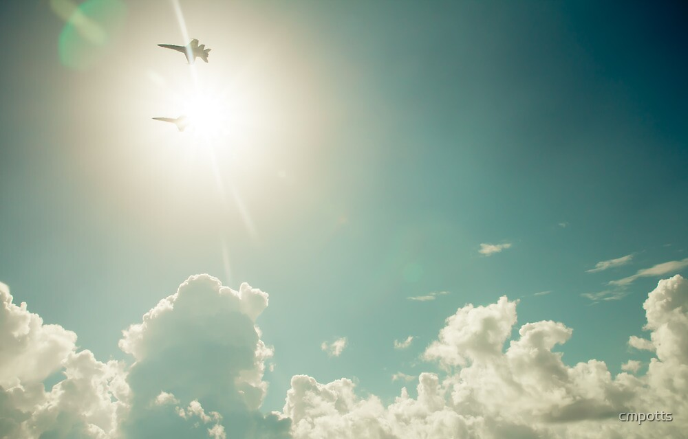 Blue Angels into the sun by Carina Potts