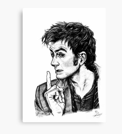"""The Doctor - David Tennant - """"Fingers on Lips!"""" Canvas Print"""