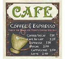 Elegant Cafe Chalkboard Photographic Print