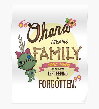 Ohana - Lilo and Stitch Quote Poster