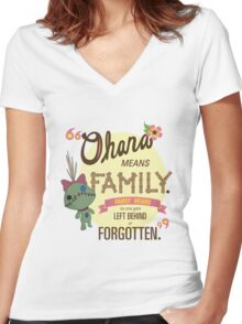 Ohana - Lilo and Stitch Quote Women's Fitted V-Neck T-Shirt