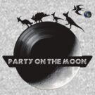 Party on the Moon Black and White by Ryan Kleczka