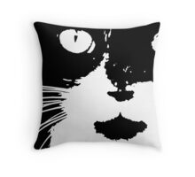 Cat Print/My Patch Abstract Graphic Cat Print Black and White - Jenny Meehan Design Throw Pillow
