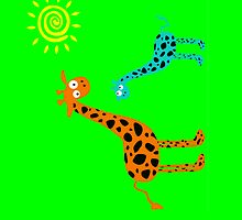 colorful Giraffe family (sticker & iPhone/iPod case) by keyweegirlie
