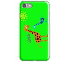 colorful Giraffe family w/ love (sticker & iPhone/iPod case) iPhone Case/Skin