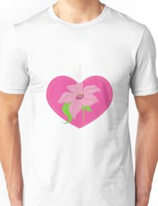 pink heart with lily Unisex T-Shirt