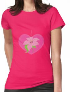 pink heart with lily Womens Fitted T-Shirt