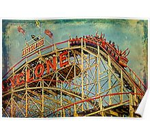 Riding The Famous Cyclone Roller Coaster Poster