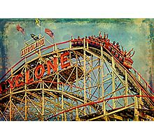 Riding The Famous Cyclone Roller Coaster Photographic Print