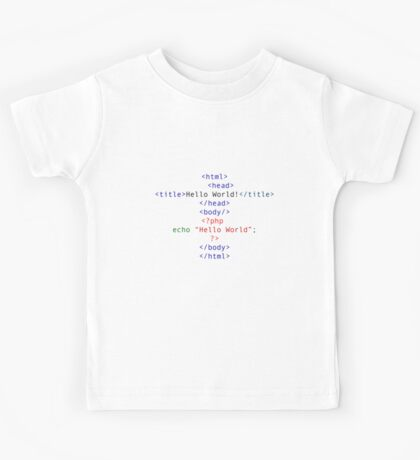 php Greeting for Nerds and Geeks Kids Tee
