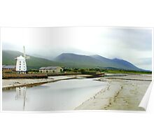 Windmill and Reflection - Dingle Peninsula and Mountains Poster