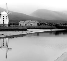 Windmill and Reflection - B&W by Honor Kyne