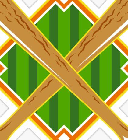 Baseball Diamond Crossed Bat Retro Sticker
