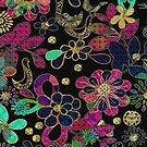Colorful Retro Floral Design by artonwear
