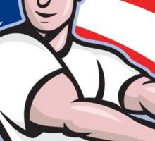 American Baseball Player Batting Cartoon Sticker