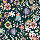 Colorful Cute Retro Floral Pattern Design by artonwear