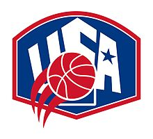 United States USA American Basketball Ball Shield by patrimonio