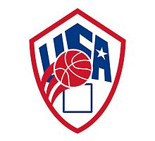 United States USA American Basketball Ball Shield by patrimonio