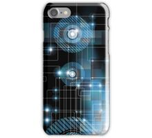 Black And Blue Geometric Squares Lines And Circles Design iPhone Case/Skin