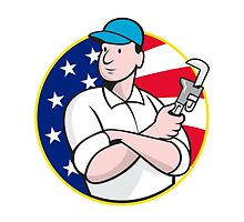 American Plumber Worker With Adjustable Wrench by patrimonio