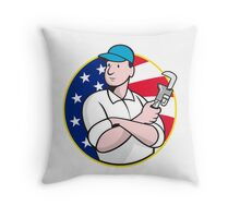 American Plumber Worker With Adjustable Wrench Throw Pillow