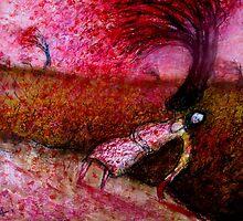 under the red blossom tree by glennbrady