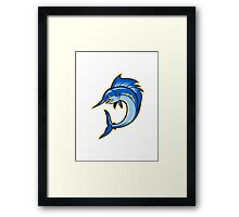 Sailfish Swordfish Jumping Cartoon Framed Print
