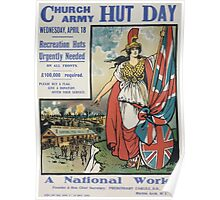 Church army hut day Wednesday April 18 Recreation huts urgently needed on all fronts £100000 required Please buy a flag Give a donation Offer your service A national work 452 Poster