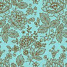 Brown And Blue Ornate Vintage Floral Lace Design by artonwear