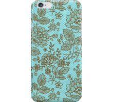 Brown And Blue Ornate Vintage Floral Lace Design iPhone Case/Skin