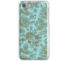 Brown And Blue Ornate Vintage Floral Lace Design iPhone Case/Skin