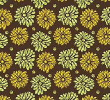 Pastel Tones Retro Floral Pattern-Brown Green And Yellow Tones by artonwear