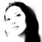 b & w model's portrait  by lensbaby